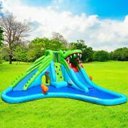 Crocodile Themed Inflatable Dual Slide Bounce House Without Blower Kids Play Kit