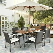 7 Pieces Patio Rattan Cushioned Dining Set With Umbrella Hole Outdoor Furniture