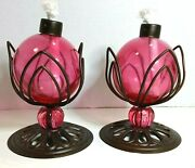 Lot Of 2 Rose-colored Glass W/metal Base Oil Lamps W/wick New