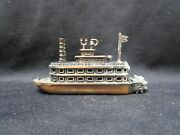 Vintage Small Brass Ferry Boat With Water Wheel Pencil Sharpener China