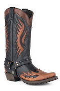 Stetson Biker Outlaw Mens Brown Leather Wings Cowboy Boots