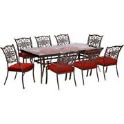 Traditions9pc 8 Dining Chairs 42x84 Glass Top Table