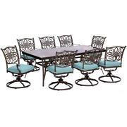 Traditions9pc 8 Swivel Rockers 42x84 Glass Top Table
