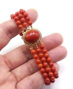 Vintage 14k Gold And Natural 3 String Mini Diamonds /coral Beads/cabochon Clasp Br