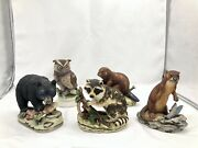 Lefton Porcelain Hp Set Of 5 Animals Found In The Forest Owl Otter Bear Raccoo