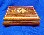 Reuge Inlaid Lacquer Wood Music Jewelry Box Swiss Collectible Handcraft Antique