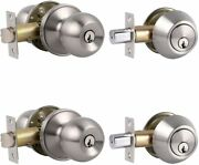 2 Sets Front Exterior Door 2 Pack Knob With Single Cylinder Deadbolts