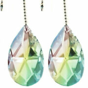 2 Inches Magnifcent Crystal Ab Hanging Almond Fan Pull Chain Pendant Pack Of 2