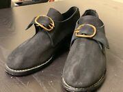 18th Century Colonial Manand039s Black Rough Leather Buckle Shoes Pair-size 13 New