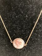 14k Gold Antique Victorian Pink Cameo Carved Shell Pendant Necklace-italy-sign