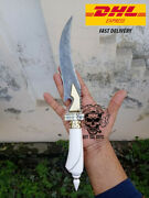 Bowie Hunting Camping Knife Damascus Twist Bone Hand Forged Outdoor Tool Knives