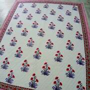 Indian Handmade Hand Block Printed Cotton Quilt Bedspread 100 Return Policy