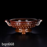 8.5 Rare Qing Dynasty Antique Red Hetian Jade Natura Drum Nail Double Ear Pot