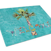 Carolineand039s Treasures 8711lcb Welcome Palm Tree On Teal Glass Cutting Board Large