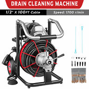100ft X 1/2 Commercial Drain Cleaner Sewer Snake Drain Auger Cleaning W/ Cutter