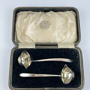Antique Cased Pair Of Solid Silver Toddy Ladles Cooper Brothers 1924 12.5cm