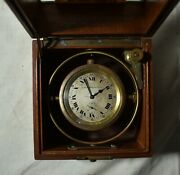 Antique Navy Ship Clock-elgin National Watch Co Chronometer 14866991 Wind Daily