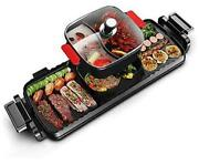 Electric Smokeless Hot Pot Grill Indoor Barbecue, 2200w 3 In 1 Large Capacity