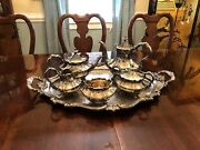Reed And Barton Silverplate Coffee Tea Set Victorian 6710 With 6700 Tray
