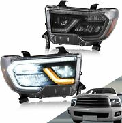 For 14-19 Toyota Tundra Sequoia Black Led Drl Halo Projector Headlights Rh Lh