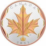 2021 Canada 50 .9999 5 Oz Maple Leaf In Motion - Yellow And Rose Gold Plating