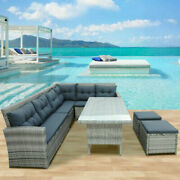 6pcs Outdoor Sectional Sofa Patio Furniture Set W/glass Table For Pool Backyard