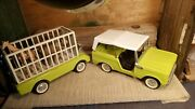 Vintage Nylint Lime Green Ford Bronco With Trailer Animals Excellent Condition