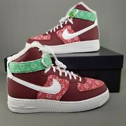 Nike Air Force 1 High 07 Lv8 Christmas Sweater Shoes Mens Size 8 Team Red Green