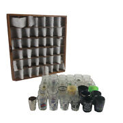 Vintage Unique Shot Glasses 38 Set Collection And Wooden Protective Display Case