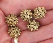 Yemen Low Content Coin-silver Nisfi Gilt Washed Bawsani Filigree Beads 5