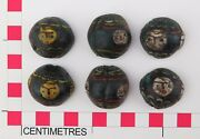 Three Split Venetian Black Glass Trail Decorated And039faceand039 Glass Trade Beads.