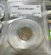 1918-s 1918 Lincoln Head Cent Pcgs Ms64 Bn Smooth Brown No Problems