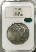 1935 1 Peace Silver Dollar Ngc Ms 63 Cac Approved