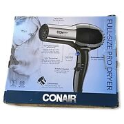 Conair 1875 Watt Full Size Pro Hair Dryer With Ionic Conditioning Silver Black