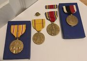 Original Wwii Us Navy Usn 4 Medal Lot Group Grouping