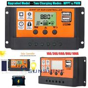 10-100a Solar Charger Controller Mpptandpwm Dual Usb Charge Regulator Panel 12/24v