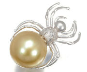 White South Sea Pearls Golden Pearl Diamond Spider Brooch 18k 750 White Gold
