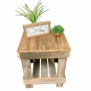 End Table Reclaimed Wood Natural With Bottom Open Shelf Rustic Style For Home