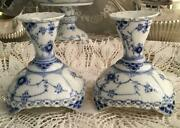 Royal Copenhagen Blue Fluted Full Lace 2 Candle Stand Holder 1st Quality Denmark
