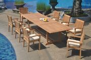 A-grade Teak 9pc Dining 118 Mas Rectangle Table Leveb Stacking Arm Chair Set