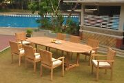 A-grade Teak 9pc Dining 118 Mas Oval Table Leveb Stacking Arm Chair Set Outdoor