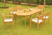Montana A-grade Teak 7pc Dining 117 Oval Table Stacking Arm Chair Patio Set