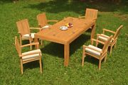 A-grade Teak 7pc Dining 86 Canberra Rectangle Table Wave Stacking Arm Chair Set
