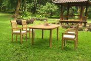 A-grade Teak 5pc Dining 94 Oval Table 4 Mas Stacking Arm Chair Set Outdoor