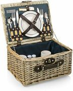Picnic Time Catalina Picnic Basket, Navy Blue And Beige 140-10-321