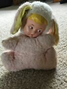 Rare Vintage Stuffed Bunny Doll. Rubber Face. Non-working Musical.