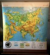 Vintage Cramandrsquos Asia Pull Down School Classroom Wall Map George F. Cram Co. 1985