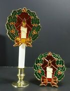 Candolier Clip On Stained Glass Candle Inside Wreath With Bow Vintage