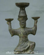 10 Old Chinese Bronze Ware Dynasty Palace People Hold Lampstand Candle Stick