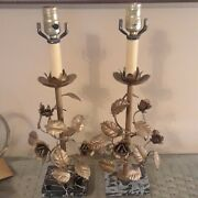 Rare Frederick Cooper Set Of 2 Table Lamps Italian Gold Gilt Leaves And Flowers